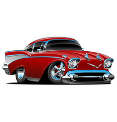 Classic hot rod 57 muscle car cartoon vector