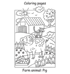 coloring pig vector image