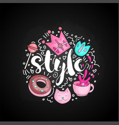 Cute doodle style text in round form colored cute vector