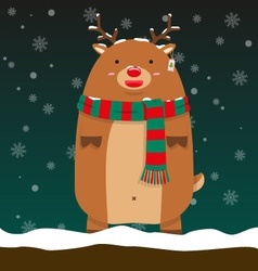 Cute fat big reindeer Rudolf stand vector