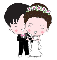 cute wedding cartoon vector image