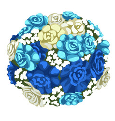 Delicate bouquet of blue and white flowers vector