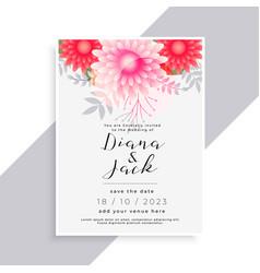 elegant flower and leaves beautiful wedding card vector image
