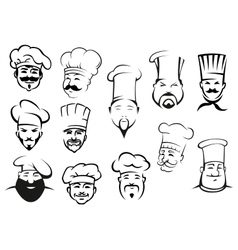 European american and asian chefs in toques vector image vector image