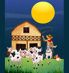 farm scene with animal farm at night cartoon style vector image