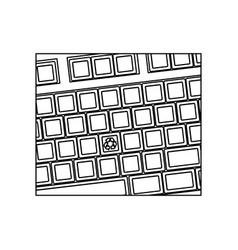Figure computer keyboard with recycle symbol icon vector