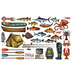 Fishing equipment and fisherman trophy fish sketch vector