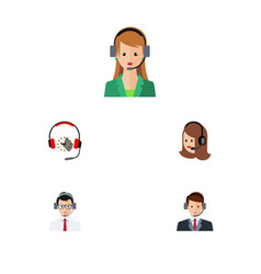 flat center set of hotline service secretary and vector image