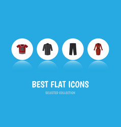 Flat icon dress set of clothes pants t-shirt and vector