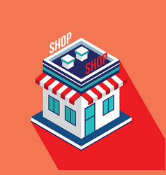 flat isometric building icon of store shop vector image