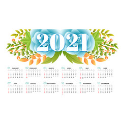 Flower style 2021 calendar design template vector