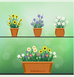 flowerpot with flower set green background vector image