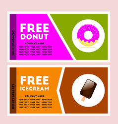 free donut and icecream coupon vector image