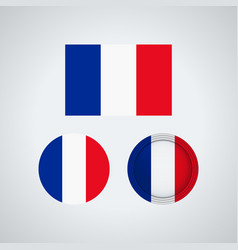 French trio flags vector