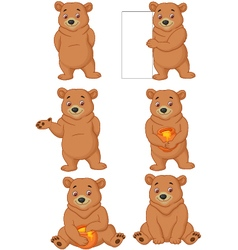 Funny cartoon bear vector