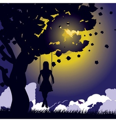 Girl on swing silhouette at night vector