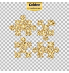 Gold glitter icon of puzzle isolated on vector