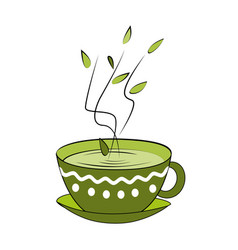 Green tea cup hot smelling tea in ornamented cup vector