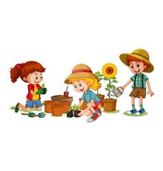 Group young children cartoon character vector