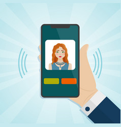 hand holding smartphone with caller on a screen vector image