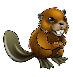 happy cartoon beaver vector image