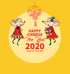 happy chinese new year 2020 with two rat vector image