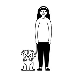 happy girl with her pet dog vector image