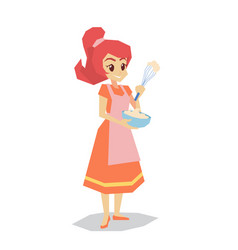 Happy housewife holding bowl and whisk cartoon vector