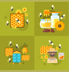 honey and beekeeping vector image