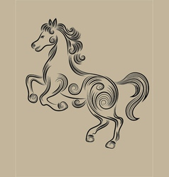 horse floral outline vector image