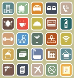 Hotel flat icons on yellow background vector image