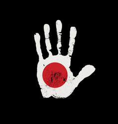 imprint a human hand in colors japanese flag vector image