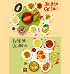 italian cuisine tasty lunch dishes icon set design vector image