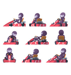 Karting racers sport speed cars competition vector
