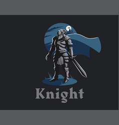knight armor sword vector image