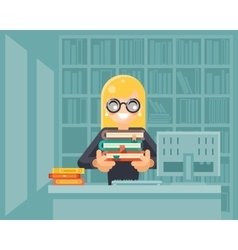 Librarian girl holding book library knowledge vector