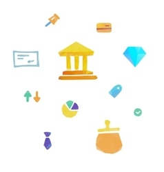 Lowpoly finance and money icons vector