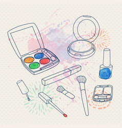make up set with brushes eyeshadow palette face vector image