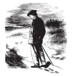 Man waling alone vintage vector