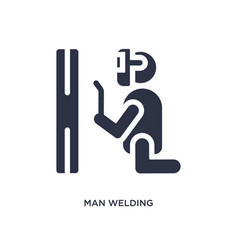 Man welding icon on white background simple vector