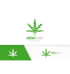 marijuana leaf logo combination hemp vector image