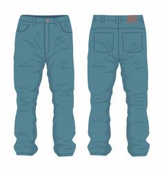 mens dark blue jeans vector image