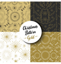 Merry christmas pattern set gold nature holiday vector image