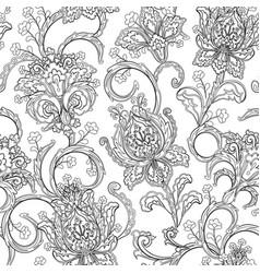 Monochrome paisley pattern seamless background vector