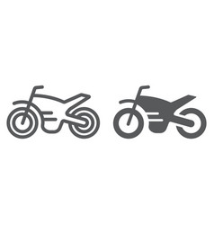 motorcycle line and glyph icon vehicle and cycle vector image