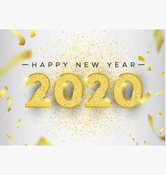 new year 2020 gold glitter holiday greeting card vector image