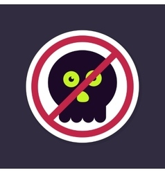 No Ban or Stop signs halloween skull icon vector image