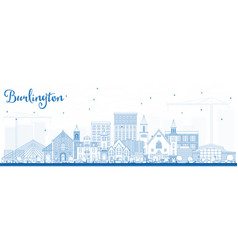 Outline burlington iowa skyline with blue vector
