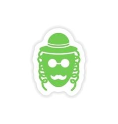 Paper sticker on white background jewish man vector