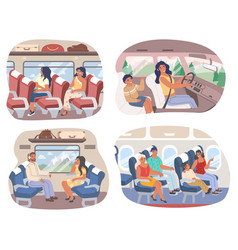 passengers inside various transport means vector image